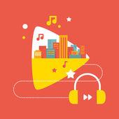 Illustrazione: i suoni della grande città con cuffie — Vettoriale Stock