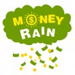 Stockvektor : Vector money rain with banknotes and coins