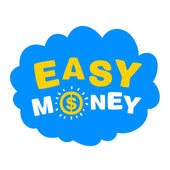 Blue cloud with the words easy money — Stock Vector
