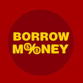 Text borrow money — Stok Vektör