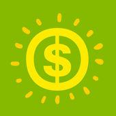 Dollar sign shinning bright yellow — Stock Vector