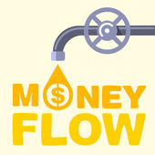 Money flow text flows out the faucet — Stock Vector