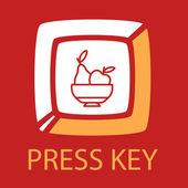 Keyboard key fruit plate. — Stok Vektör
