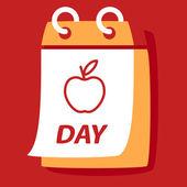 Calendar with apple. — Stock Vector