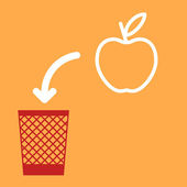 Wastebasket and apple. — Vettoriale Stock