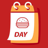 Calendar with burger. — Vettoriale Stock