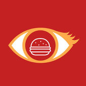 Eye with burger — Stock Vector