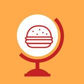 Burger on the globe — Stok Vektör