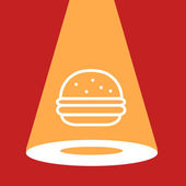 Spotlight on the burger. — Stock Vector