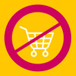 Stock Vector: Prohibiting sign crosses  shopping cart.