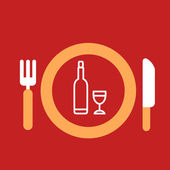 Plate with knife and fork with an icon of bottle and glass — Stock Vector