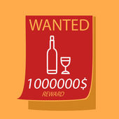 Wanted a bottle and glass.  — Vector de stock