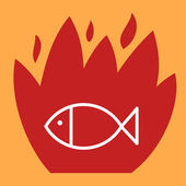 Fire surround fish.  — Stock Vector