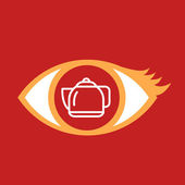 Eye with kettle.  — Stock Vector