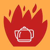 Fire surround kettle.  — Stock Vector