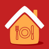 House with a  plate, spoon, fork.  — Stock Vector