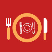 Plate with knife and fork with an icon of plate, spoon, fork — Stock Vector