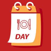 Calendário com um prato, colher, garfo. — Vetor de Stock
