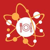 The molecular composition of a  plate, spoon, fork.  — Stock Vector