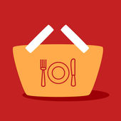 Shopping cart with  plate, spoon, fork.  — Stock Vector