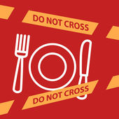 Do not cross the line crossing a  plate, spoon, fork.  — Stock Vector