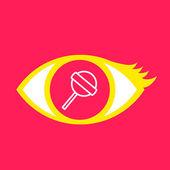 Eye with  Lollipop.  — Stock Vector