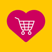 Heart with a  shopping cart.  — Vector de stock