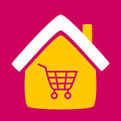 House with a  shopping cart.  — Stock Vector