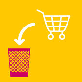 Wastebasket and a  shopping cart. — Stock Vector