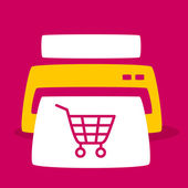 print out images  shopping cart. — Vettoriale Stock
