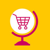 On the globe  shopping cart.  — Stock Vector