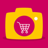 Reflected in the camera  shopping cart. — Stock Vector
