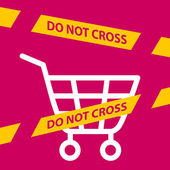 Do not cross the line crossing a  shopping cart.  — Vector de stock