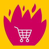 Fire surround  shopping cart.  — Stock Vector