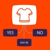 Undersökning med en t-shirt. — Stockvektor