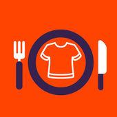 Placa com faca e garfo com um ícone de t-shirt — Vetor de Stock