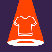 Bright spotlight illuminates the  T-shirt.  — Vector de stock