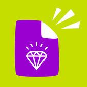 Document with a  Diamond.  — Stock Vector