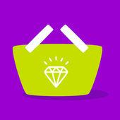 Shopping cart with  Diamond.  — Stock Vector