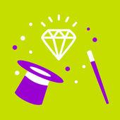 Hat magician  Diamond. — Stock Vector