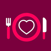 Plate with knife and fork with an icon of  Heart — Stock Vector