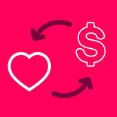 Exchange of money for a  Heart. — Stock Vector