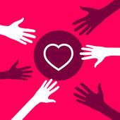 Hands reach for a  Heart.  — Stock Vector