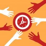 Hands reach for a Clock. — Stock Vector