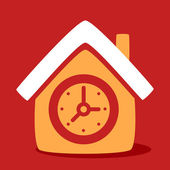 House with a  Clock.  — Stock Vector