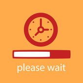Progress bar with a  Clock.  — Stock Vector