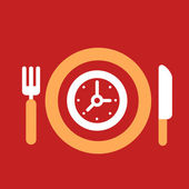 Plate with knife and fork with an icon of  Clock — Vettoriale Stock