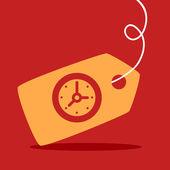 Label with a  Clock — Vecteur