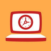 Laptop with a  Clock.  — Stock Vector