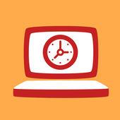 Laptop with a  Clock.  — Vecteur